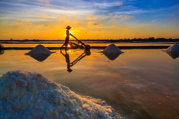 Salt field ninh thuan sunset view - salt field ninhthuan scene of dawn