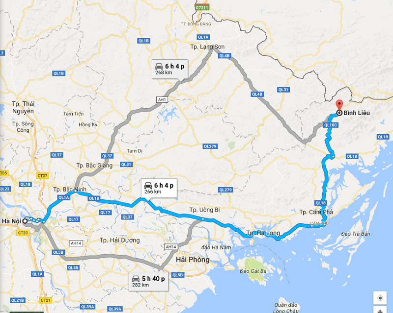 These are the roads that you can get to Binh Lieu from Ha Noi