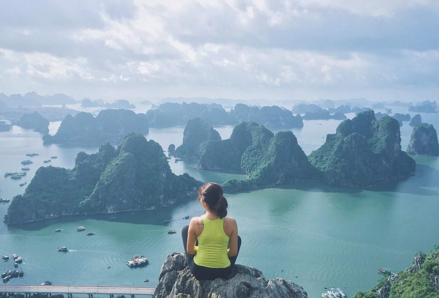 Viewing Ha Long Bay from the peak of Bai Tho city